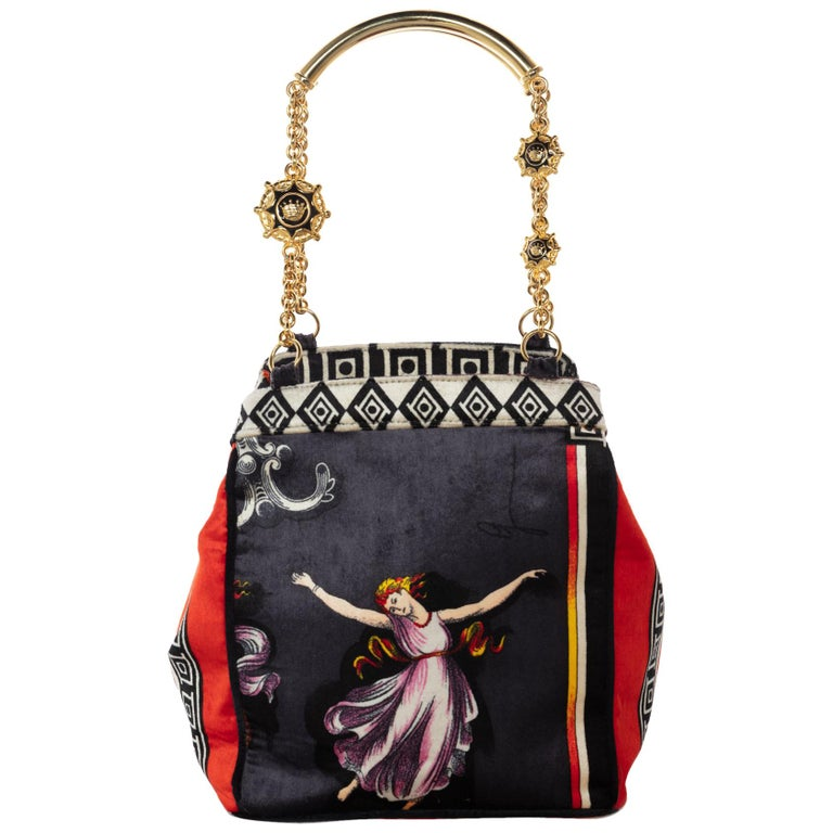 916a7bc347 1990s Gianni Versace Couture Silk Velvet Canova Print Gold Chain Bag For  Sale