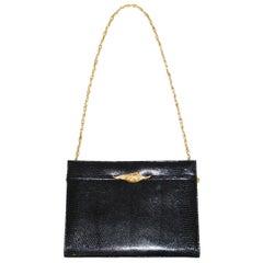 Martin Van Schaak Black Lizard Handbag, 1960s