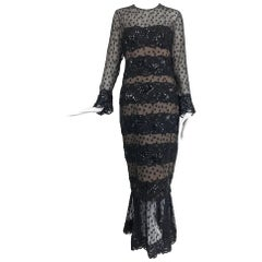 Bill Blass Black Lace Dot Silk Chiffon Mermaid Gown with Sequins, 1980s