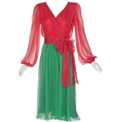 Yves Saint Laurent YSL Haute Couture Red / Green Stripe Silk Chiffon Dress, 1991