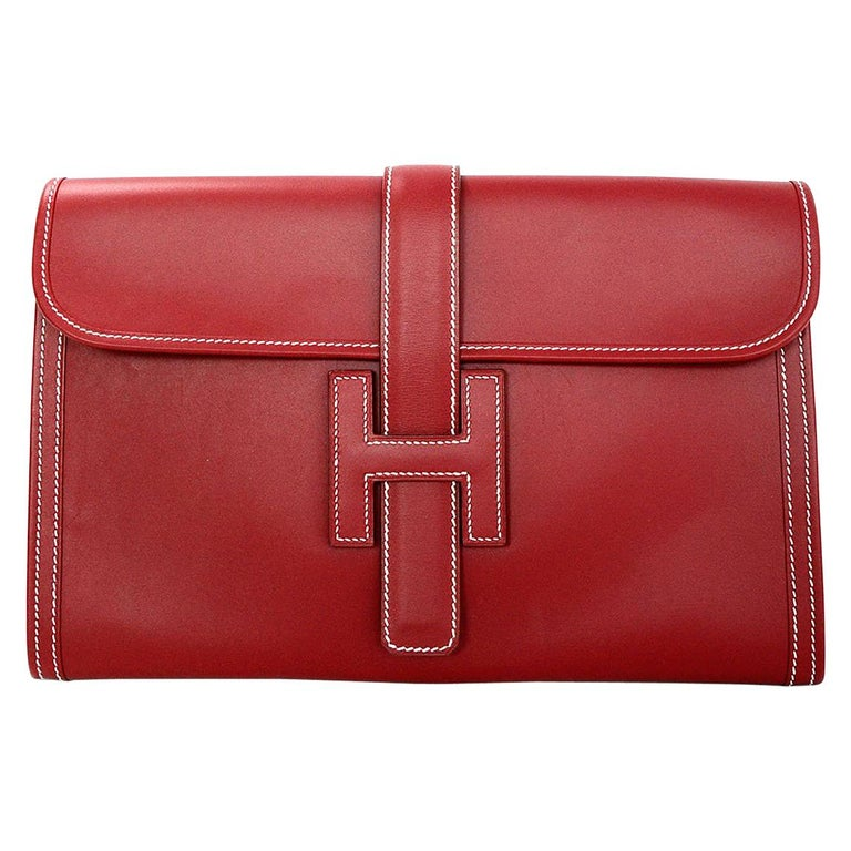 Hermes Brick Red Box Calf Leather Jige PM Clutch Bag With White Contrast Stitchi