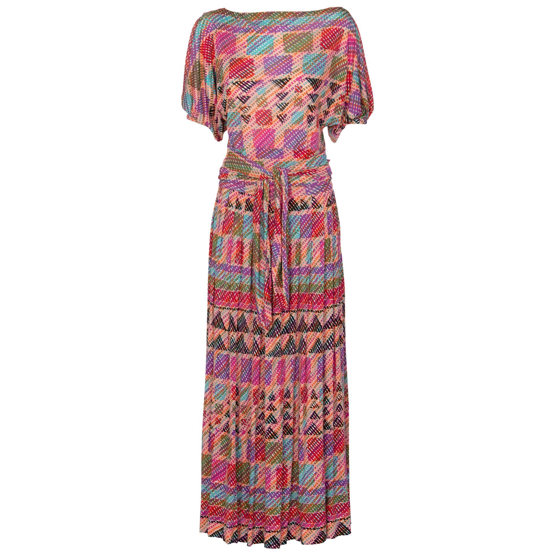 1970s Missoni Multicolored Silk Jersey Maxi Skirt Set