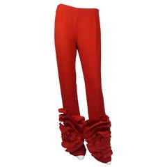 Valentino Red Silk Pants w/ Floral Detail - 8