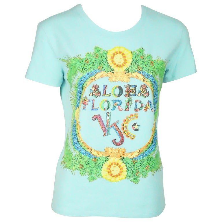 0e40f8da8685 HomeFashionClothingShirts. Versace Jeans Couture Baby Blue Shirt w/ Beading  and Tropical Print - XL For Sale