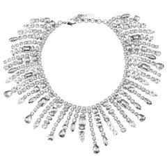 Giuseppe Zanotti Silver Crystal Dripping Evening Collar Necklace in Box