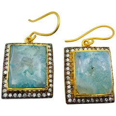 Aqua Blue Druzy Cubic Zircon Earrings