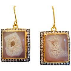 Meghna Jewels Handcrafted Crater Beige Geode Druzy Earrings