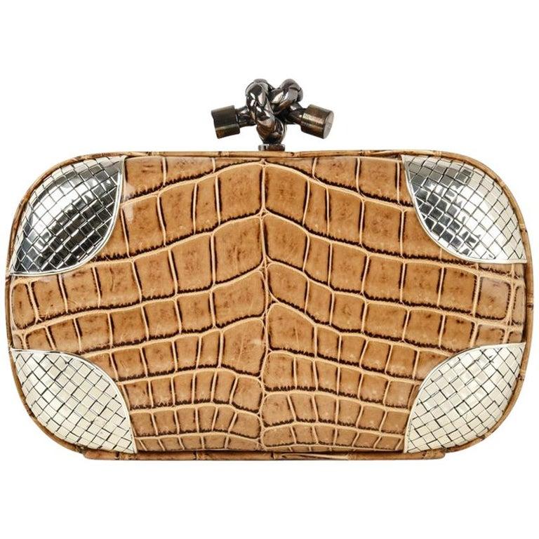 Bottega Veneta Bag Knot Crocodile Clutch Woven Silver Details