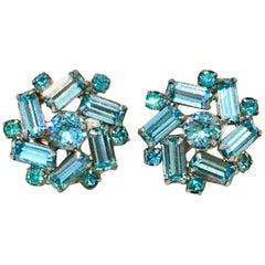 1940'S Silver & Blue Sapphire Swarovski Crystal Earrings
