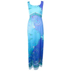 EMILIO PUCCI Light Blue and Purple Abstract Print Maxi Dress Size M