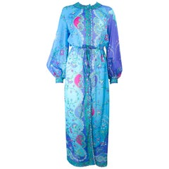 Emilio Pucci Light Blue Purple Abstract Print Long Sleeve Maxi with Tie Size M