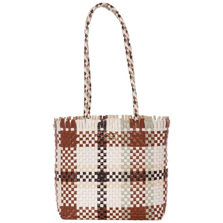 01c5e765b2cf Salvatore Ferragamo Gancini Multicolor Woven Shoulder Bag For Sale ...