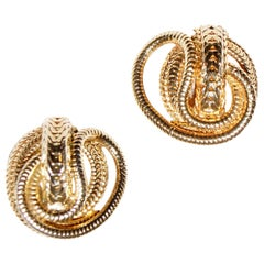1960s Hattie Carnegie Gold Snake Chain Earrings