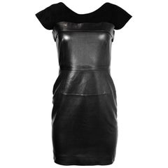 Gucci Black Sleeveless Leather Dress With Suede Bodice