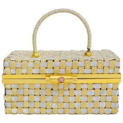 Delil Silver and Gold Woven Metal Box Purse With Foil Opal Closure