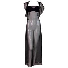 Dolce & Gabbana Runway Sheer Black Silk Bra Gown Dress, F / W 1999