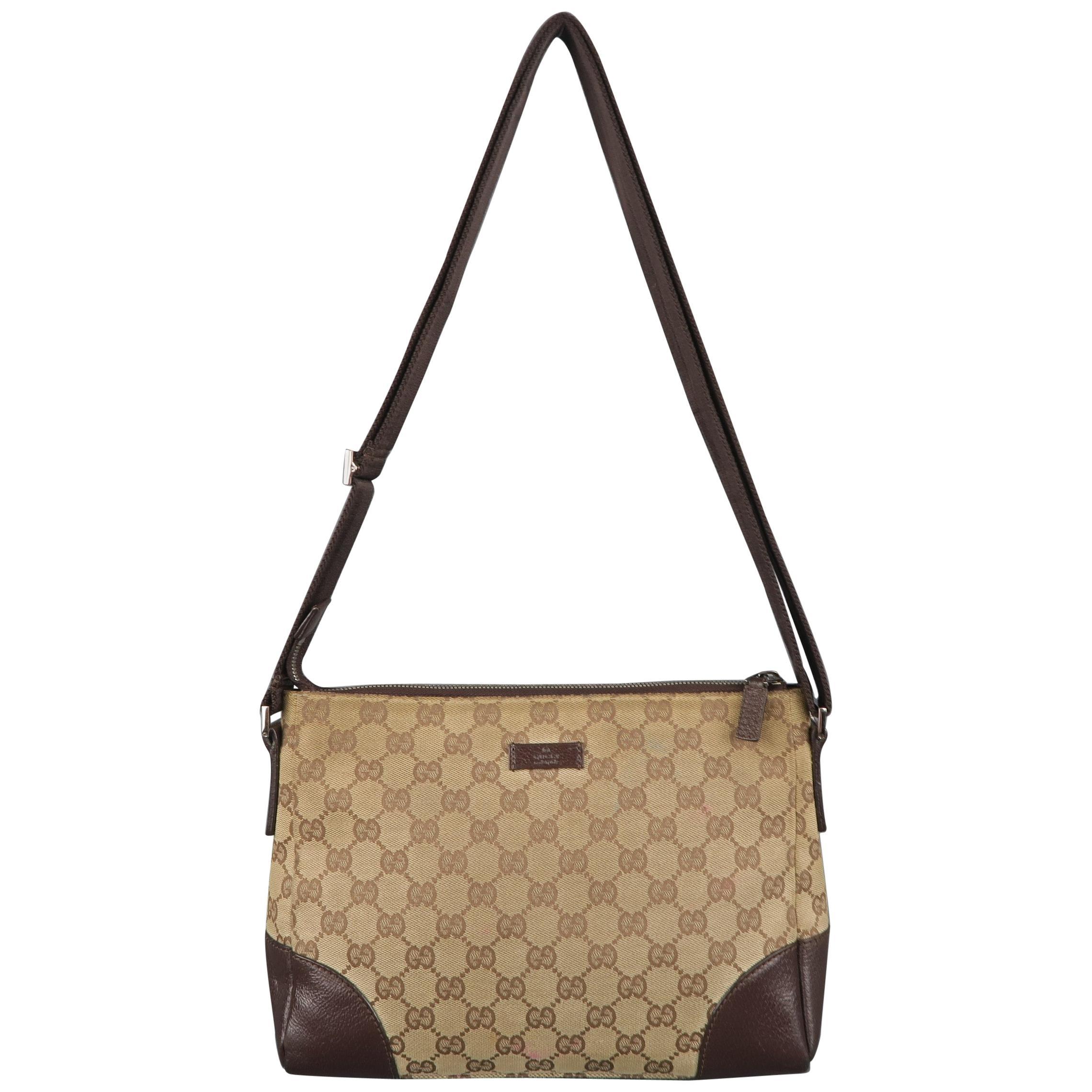 a2391819e8793a Vintage GUCCI Tan Guccissima Monogram Canvas Cross Body Handbag at 1stdibs