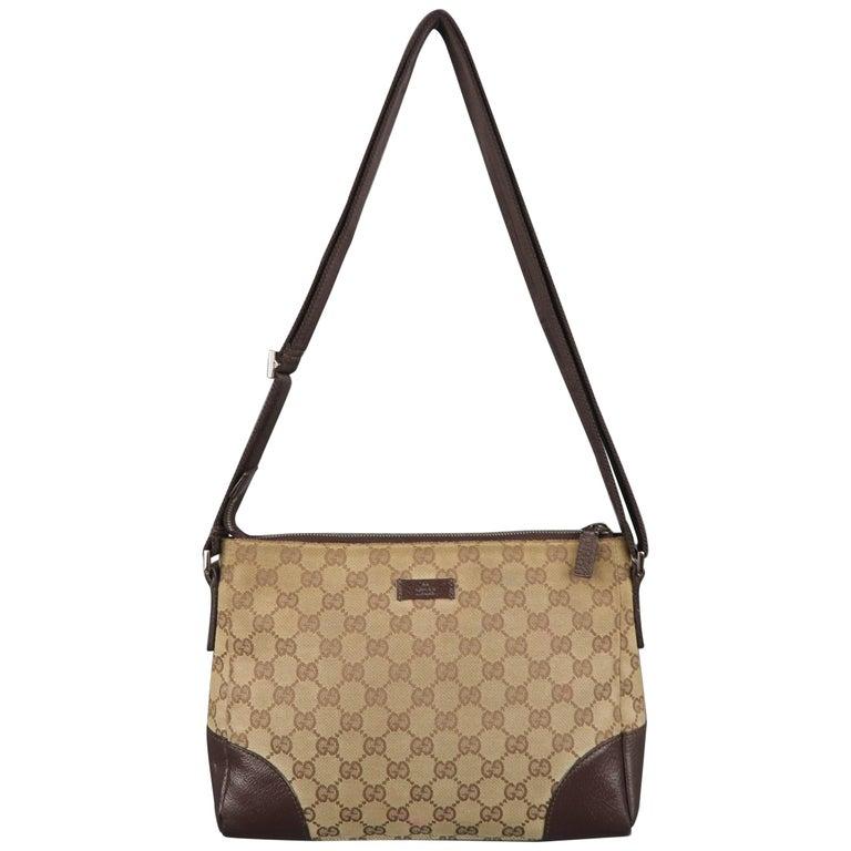 d1d124430dd Vintage GUCCI Tan Guccissima Monogram Canvas Cross Body Handbag For Sale