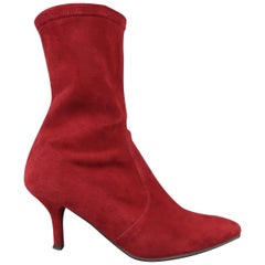 STUART WEITZMAN Size 6 Burgundy Suede The Rapture Ankle Boots