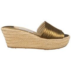 JIMMY CHOO Size 10 Gold Leather Espadrille Platform Wedge Sandals