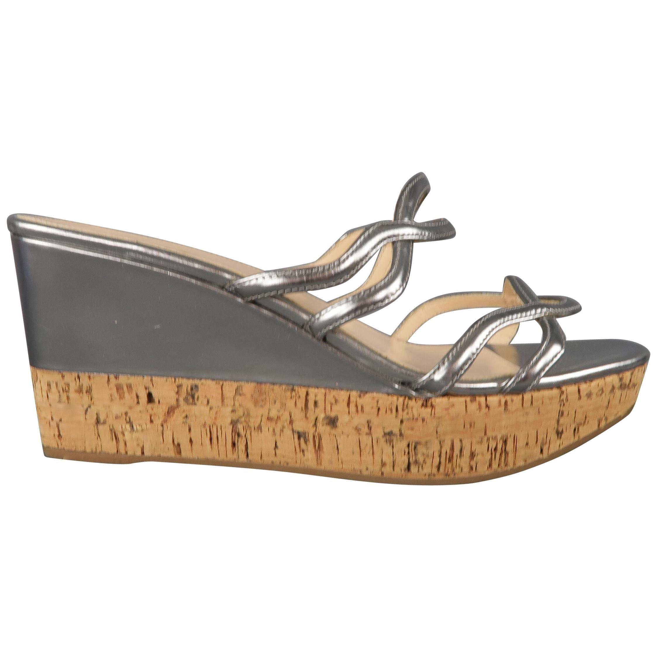 PRADA Size 10 Metallic Silver Leather Cork Wedge Platform Sandals