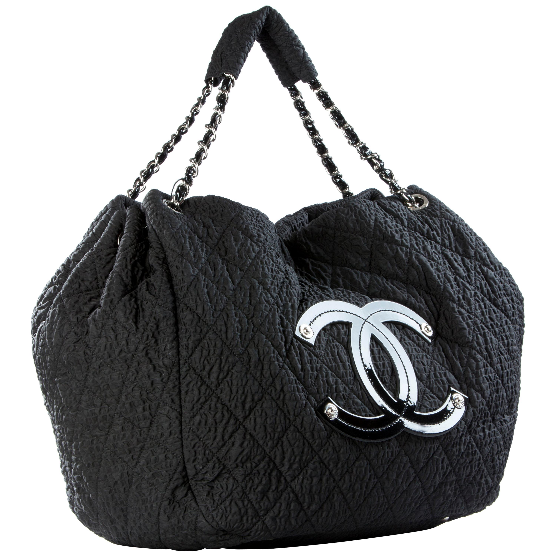 Chanel Coco Cabas Cabas Overnight Tote Black Microfiber Nylon Weekend Bag
