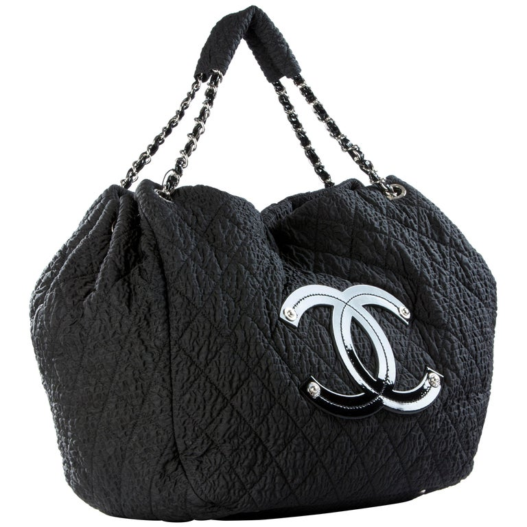 264f9528239bae Chanel Coco Cabas Cabas Overnight Tote Black Microfiber Nylon Weekend Bag  For Sale