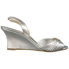 MANOLO BLAHNIK Size 10.5 Silver Leather Rhinestone Wedge Sandals