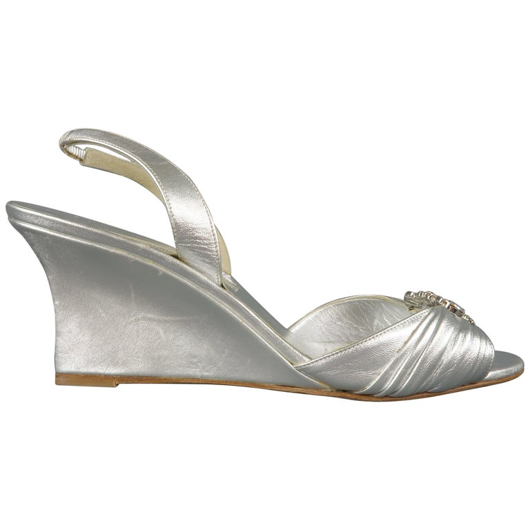 9d715362610 MANOLO BLAHNIK Size 10.5 Silver Leather Rhinestone Wedge Sandals For Sale