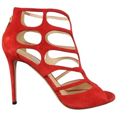 JIMMY CHOO Size US 11 Red Suede Ren 100 Cage Sandals Heels Pumps