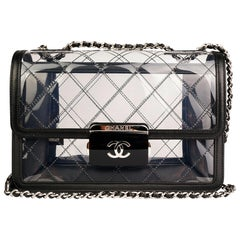 Chanel Classic Flap Naked Beauty Lock Clear Transparent PVC Crossbody Bag