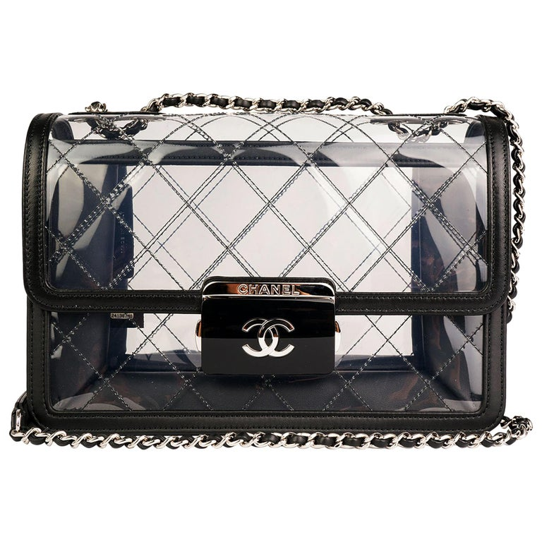 45291471245b Chanel Classic Flap Naked Beauty Lock Clear Transparent PVC Crossbody Bag  For Sale