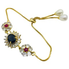 MEGHNA JEWELS Faux blue sapphire ruby chain bracelet