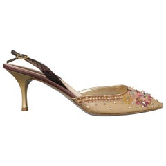 RENE CAOVILLA Size 12 Gold Jeweled Mesh Slingback Pumps Heels