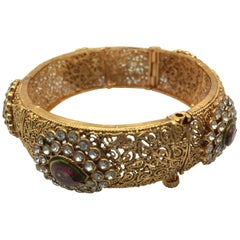 Handmade Faux tourmaline cubic zircon Antique Style Filigree bangle bracelet