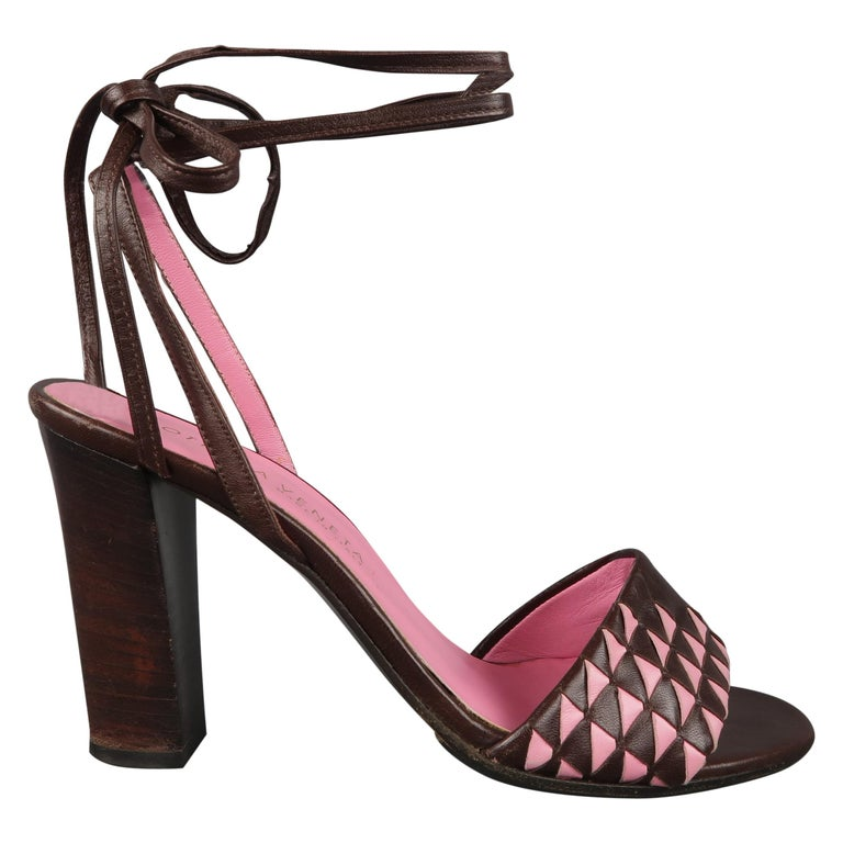 BOTTEGA VENETA Heels - Size US 7 Brown & Pink Leather Ankle Tie Sandals