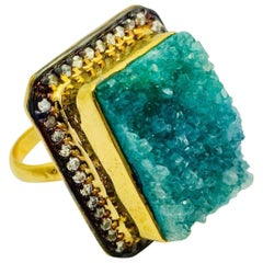 Meghna Jewels Handcrafted square textured druzy ring