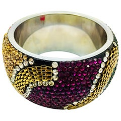 MEGHNA JEWELS Statement Rainbow Rhinestone and Crystal bangle bracelet