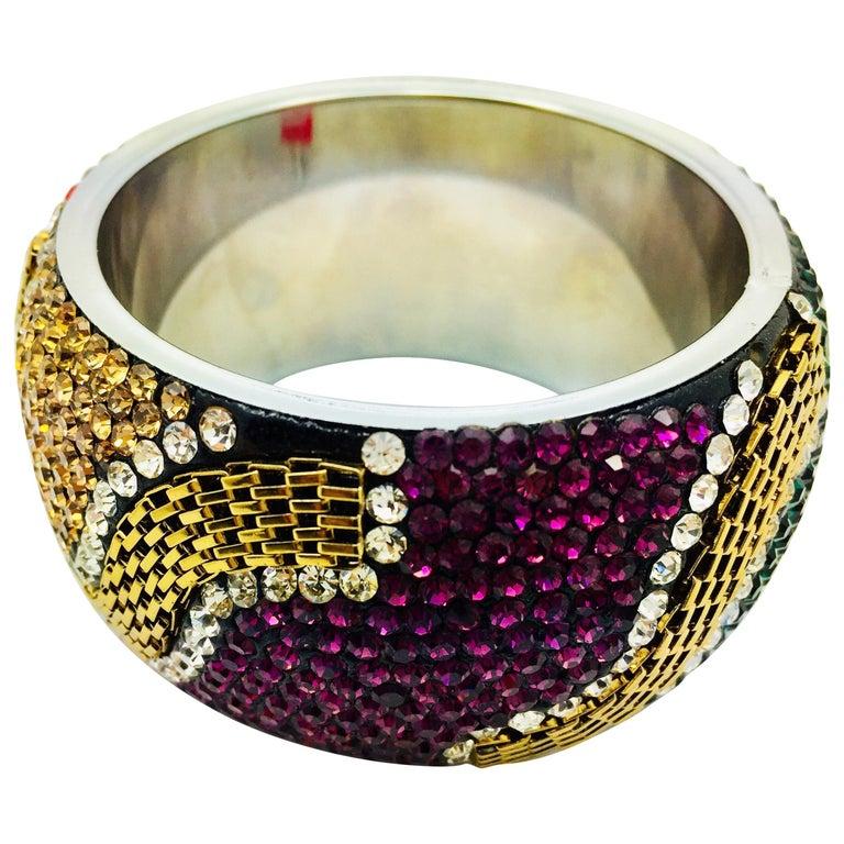 MEGHNA JEWELS Statement Rainbow Rhinestone and Crystal bangle bracelet For Sale
