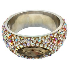 MEGHNA JEWELS Marquise Champagne crystal and rhinestone bangle bracelet