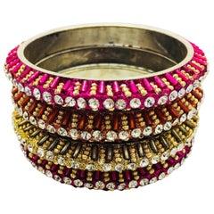 MEGHNA JEWELS Handmade rainbow rhinestone bangles