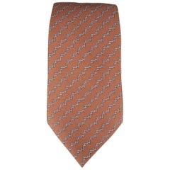 HERMES Tie - Brown Silk H Pattern Neck Tie