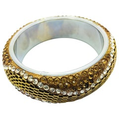 MEGHNA JEWELS Handcrafted Chain and rhinestone bangle bracelet