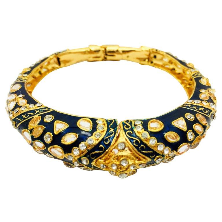 MEGHNA JEWELS Handcrafted Blue Enamel and Crystal Hinged Bangle Bracelet For Sale