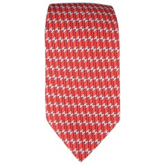 HERMES Tie - Red Striped Silk H Print Neck Tie