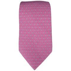 HERMES Tie - Raspberry Purple Interlock H Pattern Silk Neck Tie