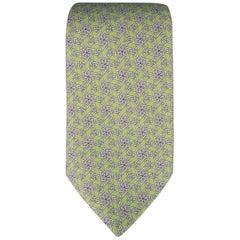 HERMES Tie - Lime Green Chainlink Print Silk Neck Tie