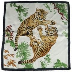 HERMES Pocket Square - Cream & Black Silk LES TIGREAX Tiger Print Pocket Square
