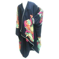 Avant-garde Graphic Print Duster Wrap Cape circa 1970s