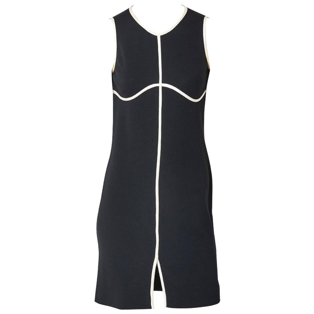 Geoffrey Beene Black and White Wool Jersey Dress